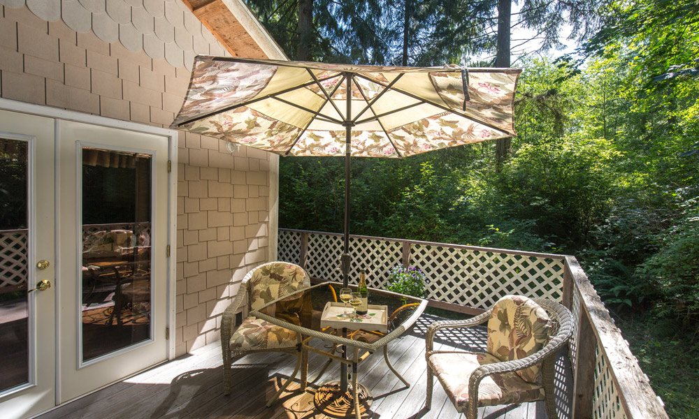 whimsical bear cottage deck